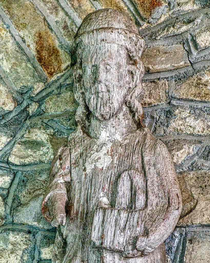 An ancient oak statue of Saint James