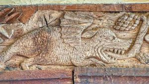 Wallplate Oak Baby Dragon Wood Carving Plain 15th Century Medieval Sampford Courtenay