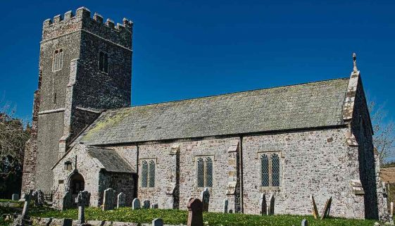Church Exterior 15th Century Medieval Tower West Devon Holcombe Burnell