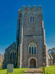 Church Exterior 15th Century Medieval West Tower Devon Holcombe Burnell
