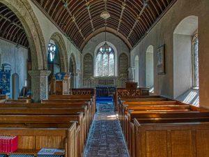 Church Interior Nave Pews Pillars Granite 15th Century Medieval Holcombe Burnell