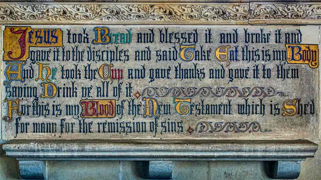 Beautiful lettering over the altar