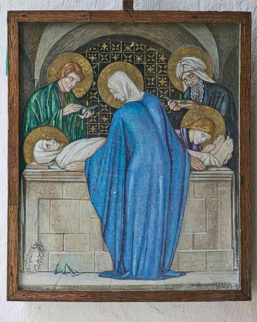 Nina Somerset Illustration Embalming Of Christ Virgin Mary 20th Century Throwleigh