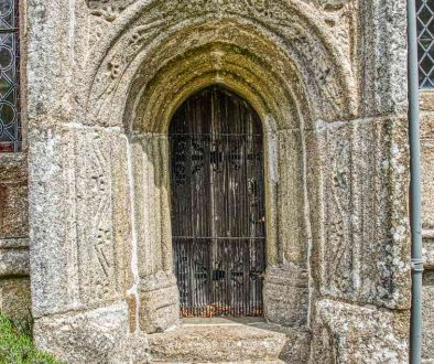 Priests Door Exterior Stone Carving Plain 15th Century Granite Stonework Medieval Dartmoor West Tower Throwleigh