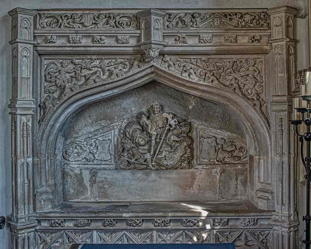 The 16th century Easer Sepulchre niche, or maybe the remains of monument to one of the Denys family.