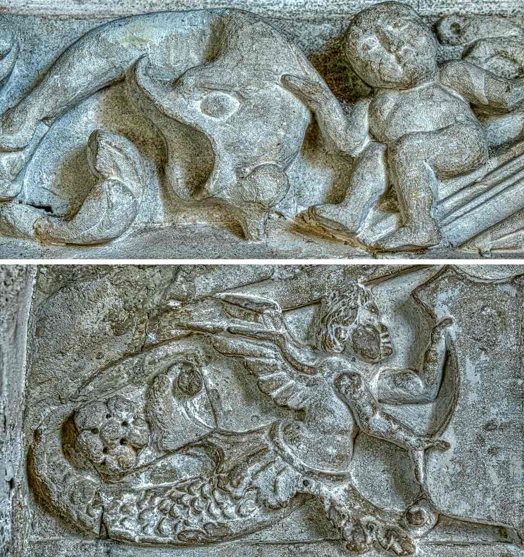 Renaissance carving in Holcombe Burnell Church of St John the Baptist