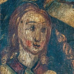 Rood Screen Wainscoting Painting Angel Gabriel Annunciation 15th Century Medieval Church Art Head Face Holcombe Burnell