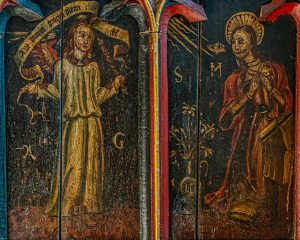 Rood Screen Wainscoting Painting Angel GabrielVirgin Mary Holy Spirit Annunciation 15th Century Medieval Church Art Figure Holcombe Burnell