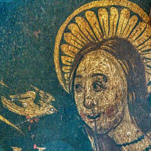 Rood Screen Wainscoting Painting Virgin Mary Holy Spirit Annunciation 15th Century Medieval Church Art Head Face Holcombe Burnell
