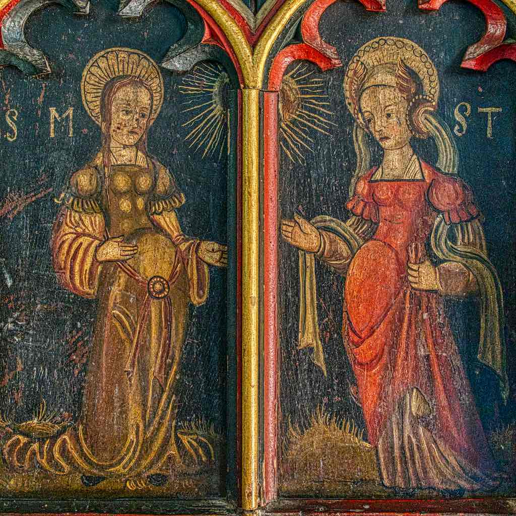 A finely painted Visitation with The Virgin Mary and St Elizabeth, the future mother of John the Baptist.