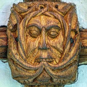 Roof Boss Green Man Foliate Head Wood Carving Plain 16th Century Medieval Mid Devon Dartmoor Throwleigh