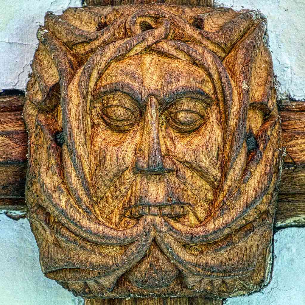 Roof Boss Green Man Foliate Head Wood Carving Plain 16th Century Medieval Mid Devon Dartmoor Throwleigh