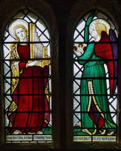 Stained Glass 20th Century Ninian Comper Saint Cecilia Angel Throwleigh