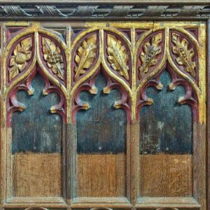 Wainscoting Rood Screen 15th Entury Medieval Wood Carving Coloured Leaves Foliage Throwleigh