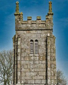 West Tower Granite Stonework Dartmoor Church Pinnacles Lichen Throwleigh