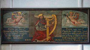 Board Painting King David Psalms Harp Memorial Folk Art Gittisham
