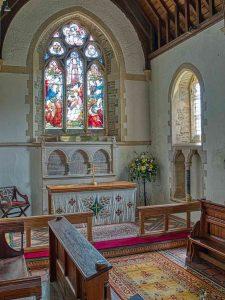 Church Interior Bruce William Oliver 1878 Neo Gothic Chancel Altar East Window Sanctuary Stonework Victorian 19th Century Parracombe
