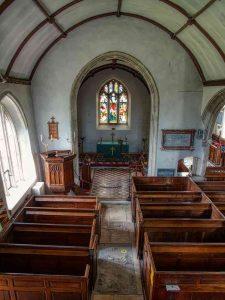 Church Interior Nave Chancel Arch Box Pews Pillars 18th Century Gittisham