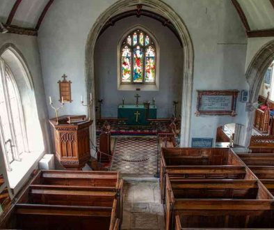 Church Interior Nave Chancel Arch Box Pews Pillars 18th Century Gittisham