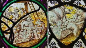Flemish Stained Glass 17th Century Descent From The Cross Christ Pigs Gittisham
