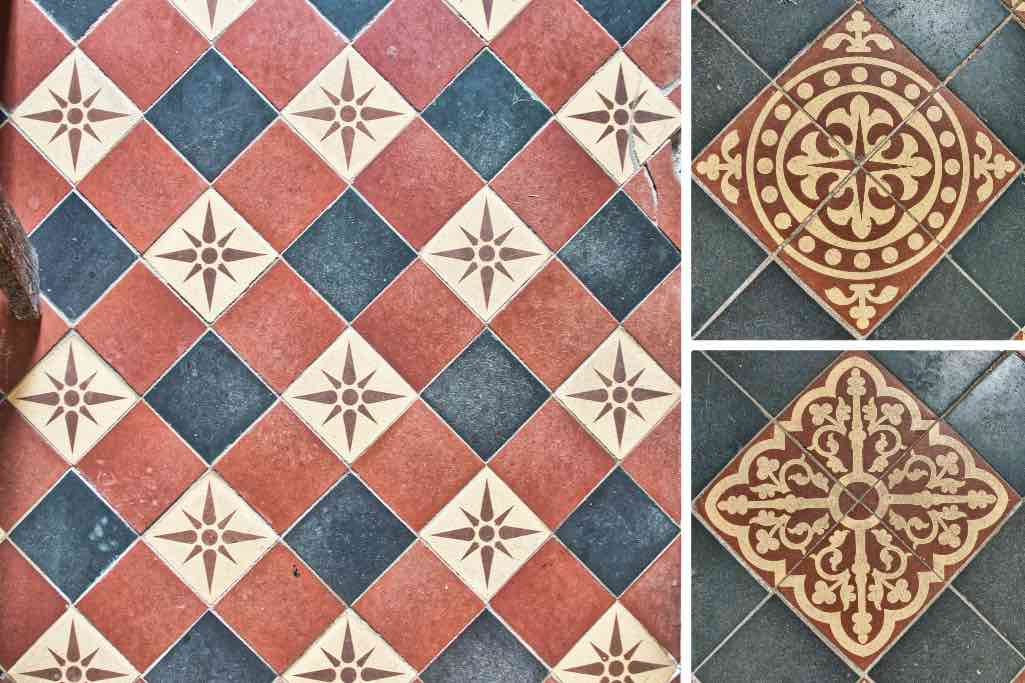 19th century encaustic floor tiles reflecting the stars on the ceiling.