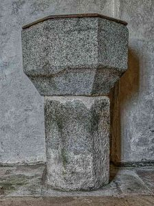 Font 15th Century Stone Carving Plain Granite Medieval Luffincott