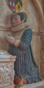 Monument Elizabeth Beaumont Alabaster Stone Carving Coloured 16th Century Figure Dress Ruff Gittisham