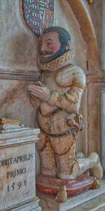 Monument Henry Beaumont Alabaster Stone Carving Coloured 16th Century Figure Armour Gittisham
