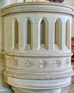 Pulpit Limestone Bruce William Oliver 1878 Neo Gothic Rosettes Stonework Victorian 19th Century Parracombe