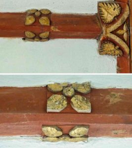 Roof Boss Rib 18th Century Wood Carving Coloured Foliage Luffincott