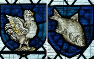 Stained Glass WF Dixon Cockerel Rooster Fish Victorian 19th Century Parracombe