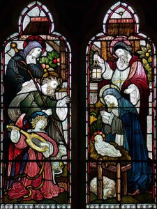 Stained Glass WF Dixon Nativity Adoration Of The Shepherds Virgin Mary Christ Joseph Victorian 19th Century Parracombe