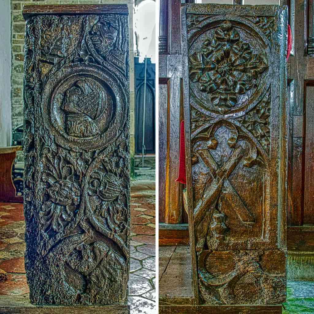 Bench End Church Pew Heads Oak Wood Carving Plain Medieval 16th Century Cookbury