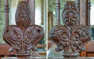 Choir Stall Poppy Heads Wood Carving Plain Victorian 19th Century Cookbury