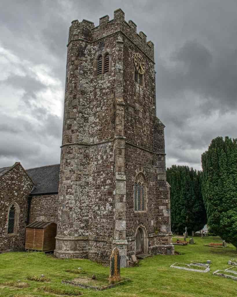Coldridge Church of St Matthew with its lichened tower