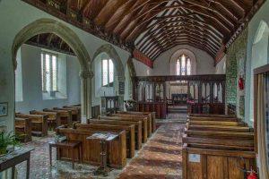 Church Interior Nave Pillars Granite 14th 16th Century Medieval Cookbury