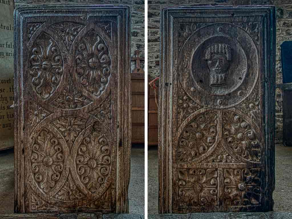 Old carving on the benchends, with the head of John the Baptist on a platter.