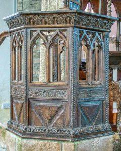Pulpit Wood Carving Plain Jacobean 17th Century Cookbury