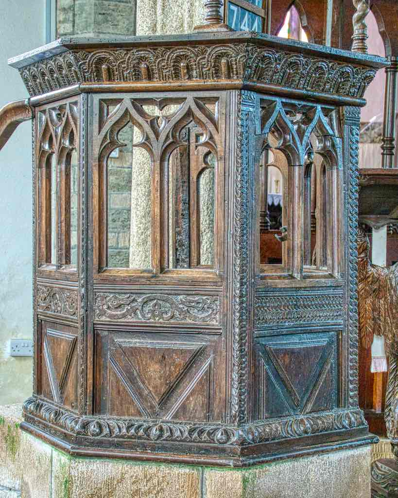 A Jacobean pulpit altered in the 19th century