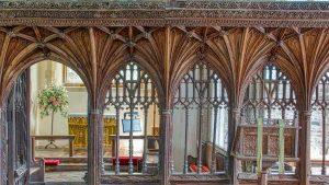 Rood Screen Wood Oak Carving Plain Vaulting Cornice 16th Century Medieval Coldridge