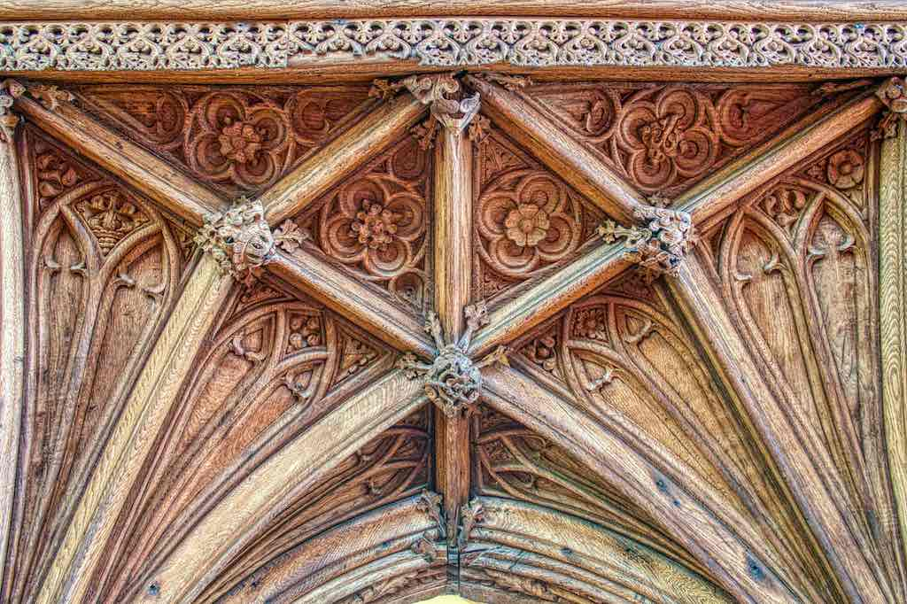Such fine carving on the vaulting