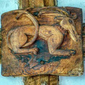 Roof Boss Wood Oak Carving Plain Antelope 16th Century Medieval Coldridge