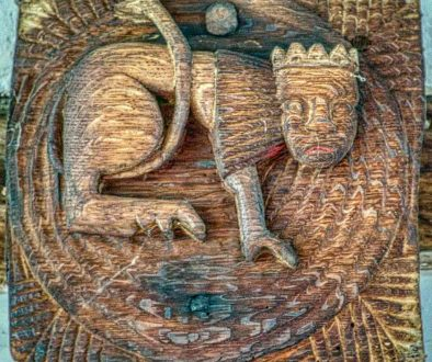Roof Boss Wood Oak Carving Plain Creature 16th Century Medieval Coldridge