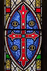 Stained Glass Victorian Cross INRI Cookbury