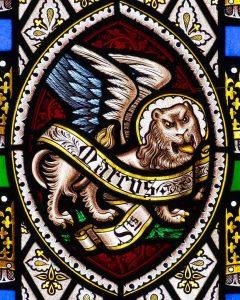 Stained Glass Victorian Saint Mark Lion Cookbury