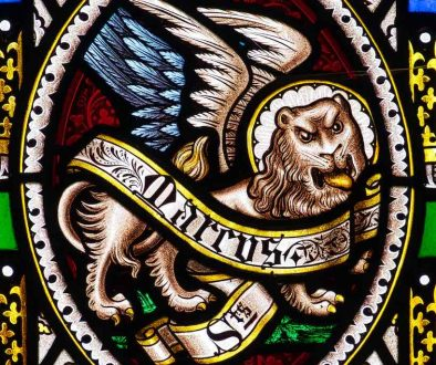 Stained Glass Victorian Saint Mark Lion Cookbury