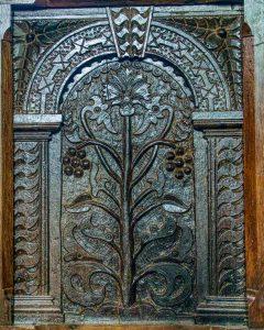 Wood Carving Plain Plant Fruit Jacobean 17th Century Cookbury
