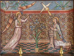 Altar Back Annunciation Wood Painted Angel Gabriel Virgin Mary Victorian 19th Century West Down