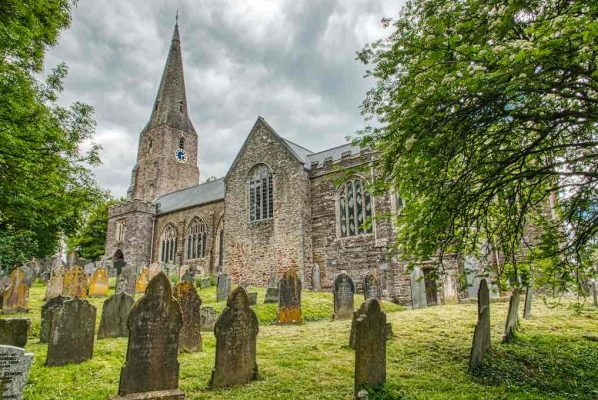 Church Exterior Churchyard Medieval 14th Century Tower Broach Spire Modbury