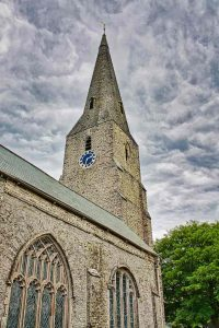Church Exterior Medieval 14th Century West Tower Broach Spire Modbury